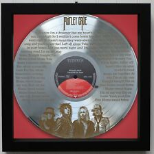 "Motley Crue ""Home Sweet Home"" Framed Laser Etched Silver Lp M4"