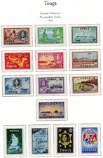 Tonga 1953 QEII set of mint stamps value to £1  Lightly Hinged