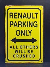 RENAULT Parcheggio Solo Metallo Segno/Vintage Garage Wall Decor (30 x 40 cm)