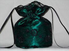 Black lace and bottle green satin dolly bag bridesmaid/ eveningwear/ prom/ Goth