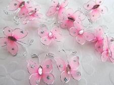 """24 Wire Glitter Butterfly 1"""" Floral Arrangement Decoration/wedding L8-Small-Pink"""