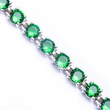 "10 CARAT BEST QUALITY ROUND GREEN EMERALD .925 Sterling Silver Bracelet 7"""