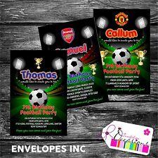 Personalised Birthday Invitations Football Party x 5