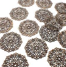 20 x 35mm Copper tone Metal Round Flower Shape Filigree Embellishments Craft