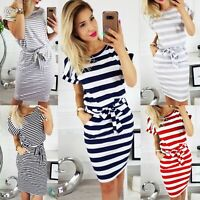 Women Summer Evening Party Midi Dress Casual Pocket Striped Short Sleeve Dresses