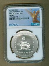 1996-Mo Mexico Olmec Series Las Limas Silver 1oz Silver $5 Peso Coin NGC MS 69