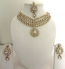 Indian Bollywood Traditional White Kundan Gold Tone Bridal Fashion Jewellery Set