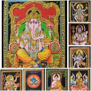 Indian Tapestry Cotton Wall Hanging God Hindu Boho Sequin Poster Art 110cms UK