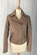 Reiss 1971 Brown Biker Lamb Leather Jacket Xs Distressed