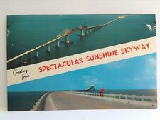 Greetings from Spectacular Sunshine Skyway Florida Pinellas Manatee Vtg Postcard