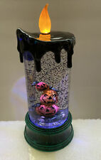 "HALLOWEEN Water SNOW globe SWIRLING Lighted (SH2) Pumpkin Stack 9"" Candle"