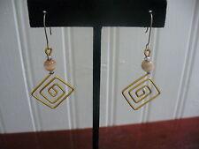 Vintage Pierced Wire Goldtone Metal Filigree & Agate Stone Drop Dangle Earrings