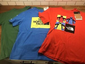 Lot of 3 The North Face Graphic T-Shirt Size Medium Youth Boys Red Blue Green