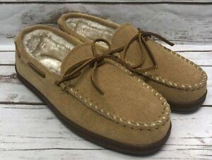 Minnetonka Men's Pile Lined Hardsole Slipper - Tan