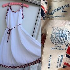 Vintage Leonora Nightgown Or Dress Union Made Size M White With Red & Blue