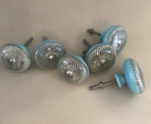 Vintage Large Light Blue Bakelite Lucite Set o 6 Furniture Pulls Knobs Starburst