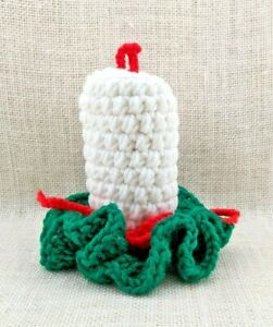 """Vintage Handmade 5"""" White - Red - Green Crochet Candle - 1980s"""