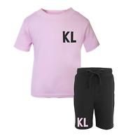 Personalised Initial Toddler Tracksuit Kids Shorts Suit Set Summer Custom Pink
