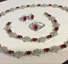 SET Red Ruby WHITE GOLD Filled matching necklace bracelet earrings ring Plum UK