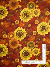Fall Sunflower Acorn Leaves Cotton Fabric Clothworks Autumn Reverie By The Yard