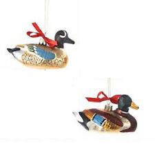 H8000 Kurt Adler Mallard Wood Duck Glass Christmas Ornament Cabin Lodge Hunting