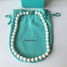 "Tiffany 10mm Bead Ball White Dolomite Gemstone Silver Round Clasp 16"" Necklace"