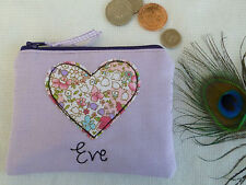 Handmade Personalised Heart Coin Purse choice of wording floral Lilac Valentines