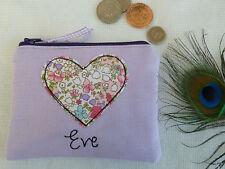 Fait main personnalisé coeur porte-monnaie choix de formulation floral lilas Valentines