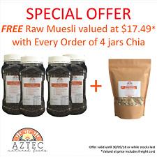 Chia Seeds Black 4kg (4 x 1kg Jar) - Free 400gm Muesli with every order