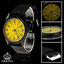 Orkina Yellow Dial Quartz Nylon Fabric Strap Casual Fashion Wrist Watch