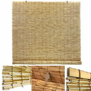 BAMBOO ROLL UP SHADE Cordless Manual Light Filter Indoor Outdoor UV Protection