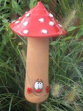 Keramik Pilz Beetstecker rot Garten Terrasse Handarbeit Deko Beet Herbst 50827