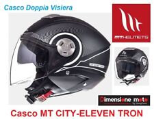 Casco Jet Doppia Visiera MT CITY-ELEVEN SV-TRON Matt Black/White Taglia S 55/56