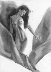 original drawing А3 28PY samovar Charcoal female nude Signed 2020