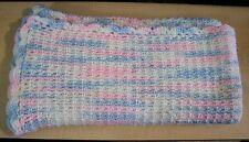 AF0088 HANDMADE BABY AFGHAN RECEIVING BLANKET scallops Waffle Crochet acrylic