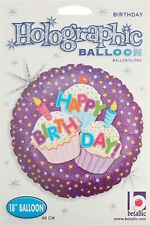 Happy Birthday Cupcake Holographic 18 Inch Foil Balloon