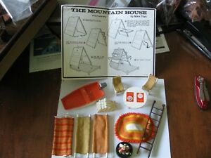 1975 MARX The MOUNTAIN HOUSE Parts DOLLS BOAT RUG TABLE LADDER CHAIRS WOOD INST