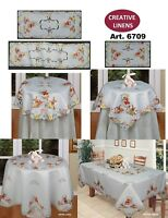 Spring Embroidered Easter Bunny Egg Floral Placemat Tablecloth Runner White 6709