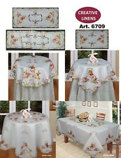 """Creative Linens Embroidered Easter Bunny Egg Floral Tablecloth 33"""" Square White"""