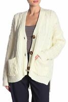 POL Womens Sweaters White Ivory Size XS Cardigan Cable-Knit Pocket $78- 691