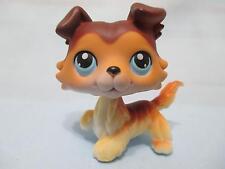 Littlest Pet Shop COLLIE #58 Tan Brown Dog SAGE Raised Paw RARE Authentic