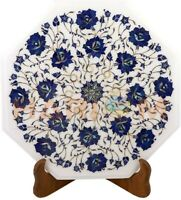 """12"""" White Marble Coffee Table Top Lapis Floral Inlay Occaasional Home Decor W515"""
