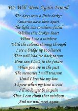 We Will Meet Again Friend Memorial Graveside Poem Card & Free Ground Stake F139