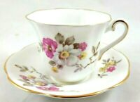 Clare Bone China Made In England Tea Cup And Saucer Pink Roses/Gold Trim