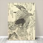 "Beautiful Vintage Japanese Bird Art ~ CANVAS PRINT 24x18"" Eagle Hunting"