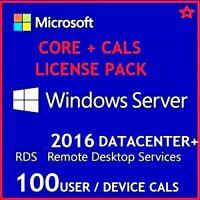 Microsoft Windows Server 2016 DATACENTER + 50 USER CALs + 50 DEVICE CALS
