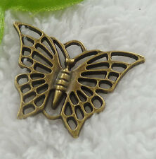 Free Ship 44 pieces bronze plated butterfly pendant 39x27mm #2014