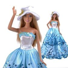 Preety Blue Princess Wedding Party Clothes Dress Chrismas Gift For Barbie Doll