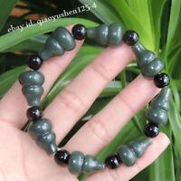 Chinese Hetian Black Green Jade Hand Carved Cucurbit Gourd Hand Chain Bracelet