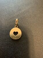 Cartier 18k Yellow Gold Heart Stencil Disc Charm With Certificate